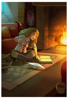 Yaoyao Ma Van As Draw pictures by the fireplace Fans D'harry Potter, Harry Potter Fan Art, Harry Potter Fandom, Harry Potter World, Desenhos Harry Potter, Hermione, Cute Illustration, Fantastic Beasts, Anime Art Girl