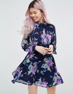 Buy it now. Yumi Long Sleeve Shirt Dress In Floral Print - Navy. Dress by Yumi, Lined chiffon, All-over print, Point collar, Button placket, Belted waist, Regular fit - true to size, Machine wash, 100% Polyester, Our model wears a UK 8/EU 36/US 4 and is 175cm/5'9 tall. , vestidoinformal, casual, camiseta, playeros, informales, túnica, estilocamiseta, camisola, vestidodealgodón, vestidosdealgodón, verano, informal, playa, playero, capa, capas, vestidobabydoll, camisole, túnica, shift, plea...