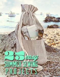 25 Easy Summer Sewing Projects--A few good reasons to get a sewing machine and learn to sew! Sewing Hacks, Sewing Tutorials, Sewing Patterns, Sewing Ideas, Beginners Sewing, Bag Tutorials, Sewing Tips, Knitting Patterns, Fabric Crafts