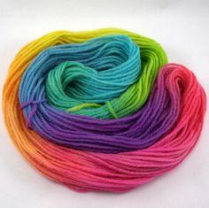 rainbow hand painted worsted weight wool yarn