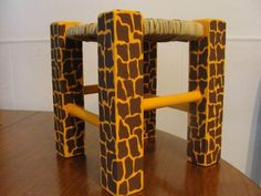 banquitos banco en madera y junco pintados o decoupage 25cms