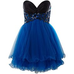 Forever Unique Strapless prom dress ($215) ❤ liked on Polyvore featuring dresses, vestidos, blue, short dresses, women, short blue dress, strapless cocktail dresses, blue prom dresses and blue collared dress