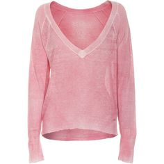 TRUE RELIGION Linen Pink V-Neck Linen knit sweater ($235) via Polyvore