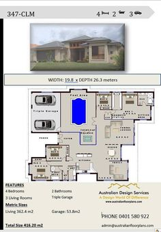 House plans 4 Bedroom house plans Triple Garage Home Pool House Plans, 2 Bedroom House Plans, Courtyard House Plans, Family House Plans, Dream House Plans, House Plans Australia, Courtyard Pool, American Houses, Traditional House Plans