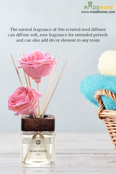 The natural fragrance of this scented reed diffuser can diffuse soft, rose fragrance for extended periods and can also add décor element to any room.