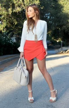 Outfit of the Day featuring Geranium Zara Skort and vintage white blouse