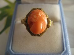 Victorian 10K Carved Coral Cameo Ring by AndOnToWillow on Etsy, $225.00