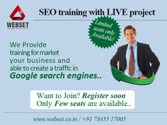 http://www.webset.co.in/seo-training-in-chennai-4/ SEO training with LIVE project  #seo_training_in_chennai Mail us:info@webset.co.in | visit us:www.webset.co.in | call us: +91 78455 17005