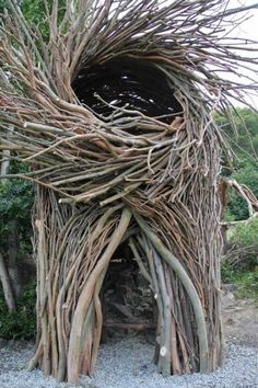 Artist Jayson Fann is a California resident who creates spirit nests for humans and helps to run the amazing Big Sur Spirit Garden along the Pacific Coast. Each nest is an interactive and functional art sculpture made from tree branches that are harvested from local forests and is large enough to accommodate up to eight people.