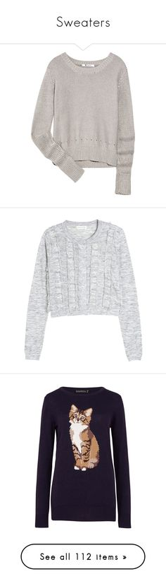 """""""Sweaters"""" by tessa-moon on Polyvore featuring tops, sweaters, shirts, blusas, grey, cotton sweaters, shirt top, gray shirt, shirt sweater and woven cotton shirt"""