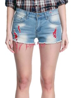 Raw Fringes Worn Out Middle Waist Denim Shorts Women's Ripped Jeans on buytrends.com