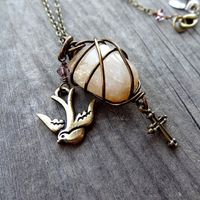 Bronze Wire Wrapped Citrine Pendant Dove Bird Cross Crystal Charm Necklace Christian Religious Jewelry