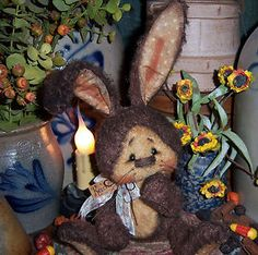 "Primitive Fuzzy Brown Bunny Rabbit 5"" Doll Bear Antique Lk ★ Vtg Patti's Ratties"