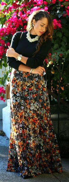 Cropped Black Sweater + Multi Fall Floral Maxi - A Keene Sense of Style