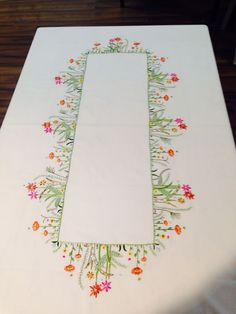 This Pin was discovered by emb Tobin Wildflowers Stamped Oblong Tablecloth for Embroidery The most beautiful cross-stitch pattern Linen Placemats Set of 6 Embroidery Linen Table Linen Table Top Fabric Placemat White Embroidery Needles, Hand Embroidery Stitches, Crewel Embroidery, Hand Embroidery Designs, Embroidery Patterns, Machine Embroidery, Stitch Patterns, Cross Stitch Beginner, Linen Placemats