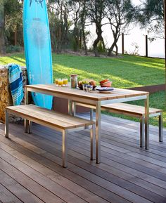 Eco Outdoor Lennox dining table and bench seats. Outdoor furniture | livelifeoutdoors | Patio furniture | Outdoor dining | Teak outdoor | Outdoor design | Outdoor style | Outdoor luxury | Designer outdoor furniture | Outdoor design inspiration | Pool side furniture | Outdoor ideas | Luxury homes