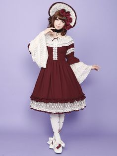 ☮JAPANESE STREET FASHiON☮••• classic lolita ~ dress ~ lace ~ bonnet ~ roses ~ cute ~ kawaii