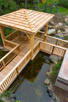 A gazebo built in a koi pond.love this idea, but would like a different shaped gazebo! I want a roof on the deck. Pond Landscaping, Ponds Backyard, Backyard Pergola, Deck Gazebo, Patio Pond, Diy Pond, Garden Ponds, Tropical Landscaping, Pergola Kits