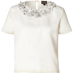 Giambattista Valli Crystal Embellished Wool-Silk Blend Top (€370) ❤ liked on Polyvore featuring tops, blouses, shirts, t-shirts, white, embellished shirt, white short sleeve shirt, white short sleeve top, wool shirt and shirt blouse