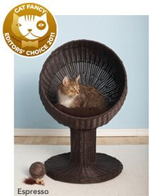 "Kitty Ball Cat Beds. $99.99  	Let your cat lounge in style. The Kitty Ball Bed gives your cat a large comfortable bed that's off the ground but easy to get into.  - Includes soft machine washable cushion inside the 17"" dome.  - Hand woven with durable non toxic faux rattan."