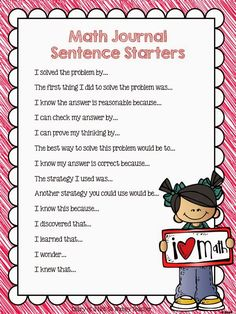 """Sentence starters -- finally, reading math journal entries will be less """"painful"""" now!"""