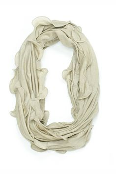 Ruffle Infinity Scarf blue and beige. Made from soft jersey fabric. Cool around the neck. Perfect to ad pizzazz to your favorite outfit.  Ruffle Infinity Scarf by Violet Del Mar. Accessories - Scarves & Wraps San Diego California