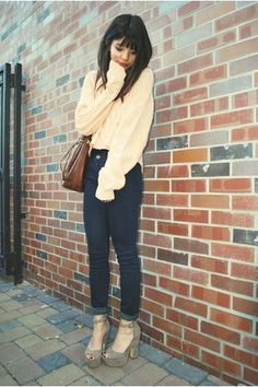 Chunky sweater and platforms