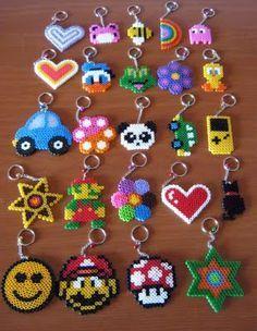 hama/perler bead or cross stitch design idea - charms, keyrings, jewelry, hair clips, cards. Perler Bead Designs, Easy Perler Bead Patterns, Hama Beads Design, Diy Perler Beads, Perler Bead Art, Pearler Beads, Fuse Beads, Art Perle, Iron Beads