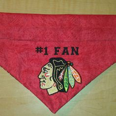 Chicago Blackhawks #1 Fan / Over the Collar Dog Bandana / Personalized Bandana / Embroidered Bandana