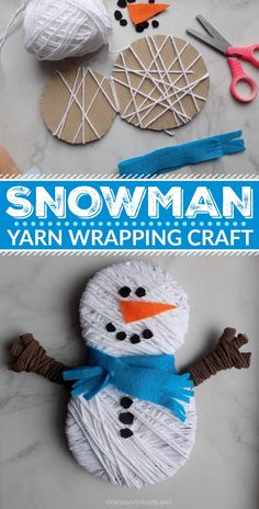 This snowman yarn wrapping craft was the perfect [ super simple! ] way to entert. This snowman yarn wrapping craft was the perfect [ super simple! ] way to entertain my toddlers ind Snow Crafts, Yarn Crafts For Kids, Winter Crafts For Kids, Toddler Crafts, Holiday Crafts, Easy Crafts, Arts And Crafts, Crafts Toddlers, Creative Crafts