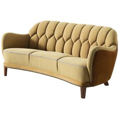 Danish Curved Sofa in Yellow and Brown Velours 1