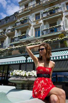 Admiring the view from Hôtel des Trois Couronnes' terrace Shoulder Dress, One Shoulder, Terrace, Photos, Restaurant, Bar, Dresses, Fashion, Gowns