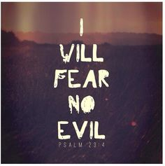 -Psalm 23:4 I think, considering the state of the Union and the world, this will be my motto.