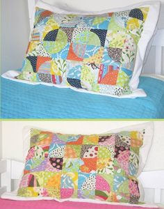 Raw Edge Circle shams--match the Raw Edge Circle Quilt (tutorial for that at Cluck Cluck Sew)