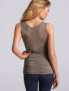 Mesh Crewneck Tank - Victoria's Secret $49.50. the front looks pretty awesome too. side ruching. in black, taupe or sapphire.