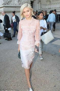 Blonde bombshell: Neighbours star Sarah Ellen looked completely flawless in a pale pink midi dress