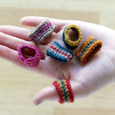 DIY some simple crocheted rings with fun yarns and just a few rows of crochet!