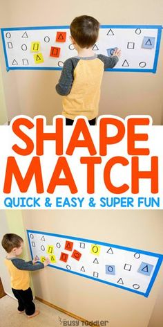 Shape Matching Post-It Notes Activity - Busy Toddler - Toddlers Activities Pre K Activities, Preschool Learning Activities, Preschool Lessons, Preschool Classroom, Infant Activities, Classroom Activities, In Kindergarten, Teaching Kids, Rainy Day Activities For Kids