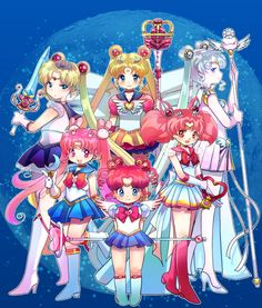 Sailor Moon Series- Sailor Moon, Princess Serenity, Sailor Cosmos, Chibi Moon, Kousagi (Sailor Parallel Moon), Chibi Chibi Moon