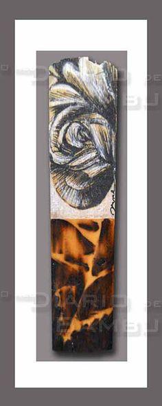 ROSA Palheta de Saxofone Soprano / Soprano Saxophone reed Técnica mista (Tinta da china, lápis de cor e pirogravura)/ Mixed techniques (Indian ink, colour pencil and pyrography)