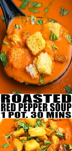 ROASTED RED PEPPER SOUP RECIPE- Quick, easy fire roasted red pepper tomato soup, homemade with simple ingredients in one pot. This 30 minute meal is healthy, creamy, loaded with tomatoes & Italian herbs. From OnePotRecipes.com #soup #dinner #recipes #tomato #onepotmeal #onepotrecipes #30minutemeal #30minuterecipes #vegetarian