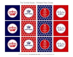 "printable party circles. they're from the royal wedding, but the ""keep calm and marry on"" ones should work for a brittania-themed bachelorette party!"