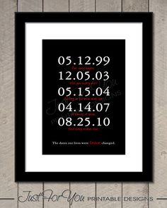 Special Dates - Birth Dates - Family - Children - Grandchildren - YOU PRINT (Digital File) Typography Wall Art Print Poster Sign