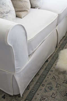 Sectional Slip Cover Confessions of a Serial Do-it-Yourselfer (Such a magnificent redo! Love the Piece Sofa Slipcover Photo 4 Of 7 Nice 2 Piece Couch Cover 4 Sectional Slip Cover Confessions Of A Serial Do 2 Piece Sofa Slipcovers CheapSectional S Diy Furniture Redo, Reupholster Furniture, Furniture Slipcovers, Repurposed Furniture, Furniture Covers, Do It Yourself Sofa, Sectional Slipcover, Diy Couch, Couch Covers