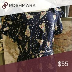Anthropologie, Odille, size 6 EUC Floral hearts blouse. Smoke free pet free home. Tops Blouses