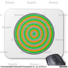 Shop Customisable Colourful Concentric Circle Design Mouse Pad created by JFJPhoto. Custom Mouse Pads, Circle Design, Marketing Materials, Color, Colour, Colors