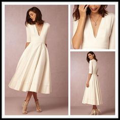 Chic Tea Length Cheap Wedding Dresses Under 100 Deep V Neck A Line White Long Sleeve Wedding Dress Short Vestidos De Novia From Bhldn Princess Line Wedding Dress Simple A Line Wedding Dresses From Dresslee, $102.92| Dhgate.Com