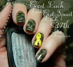 Support Our Troops!   I'm wearing this yellow ribbon camo mani in honor of my hubby and his National Guard Company who left for deployment to Afghanistan yesterday. May the Angels be with them.