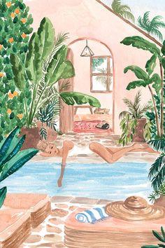 Sun Siesta Canvas Print by Sabina Fenn Painting Inspiration, Art Inspo, Cute Art, Canvas Wall Art, Watercolor Paintings, Art Projects, Art Drawings, Abstract Art, Illustrations