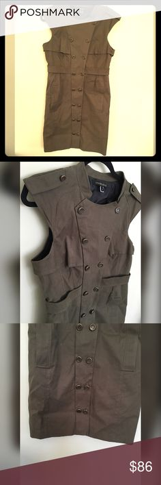 Cynthia Steffe button dress size 8 Stunning button down dress size 8 by Cynthia Steffe. Color is like a olive brown green. First picture is truest to color. Pockets on side and comes with extra buttons Cynthia Steffe Dresses Midi